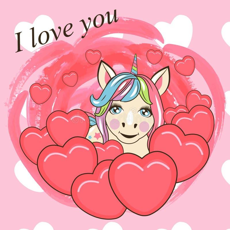 Carta del biglietto di S. Valentino con l'unicorno sveglio del fumetto illustrazione di stock