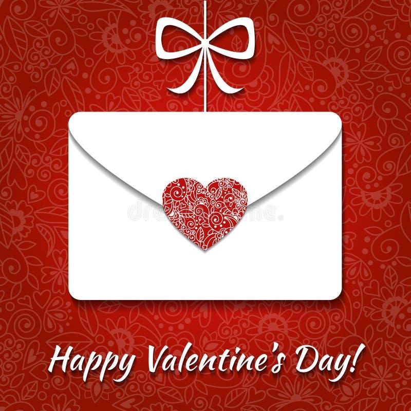 Carta del biglietto di S. Valentino con la busta ed il cuore elegante illustrazione di stock