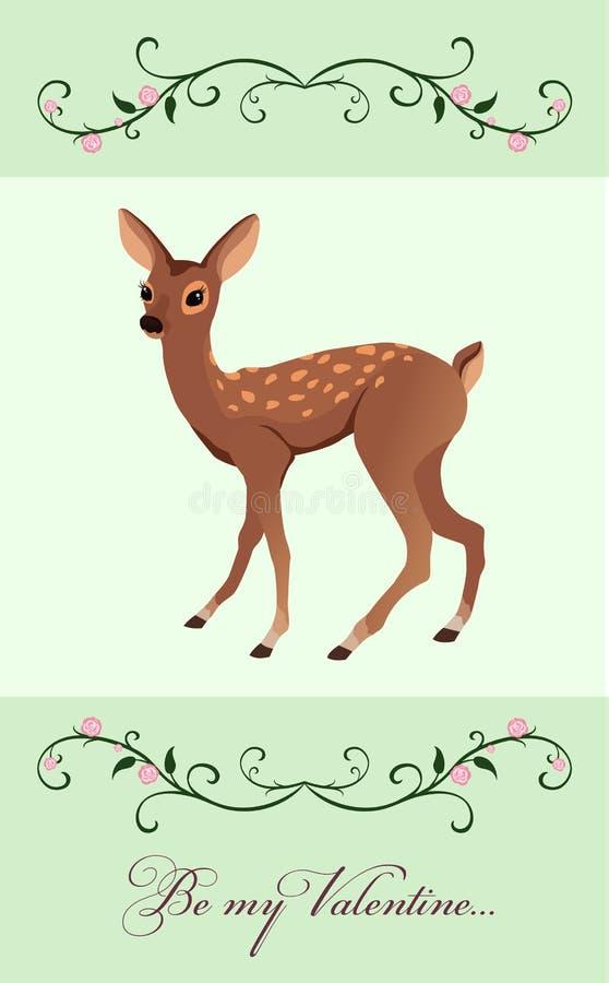 carta del biglietto di S. Valentino con un piccolo fawn illustrazione di stock