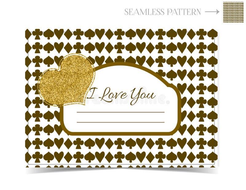 Carta del biglietto di S. Valentino di scintillio dell'oro per Valentine Day royalty illustrazione gratis