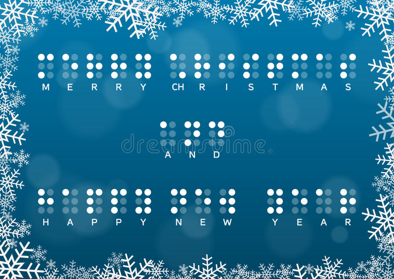Carta del buon anno e di Buon Natale con il saluto di Braille illustrazione vettoriale