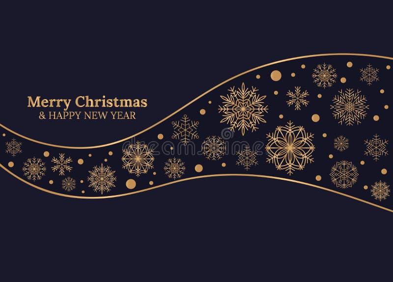 Carta del buon anno e di Buon Natale con i fiocchi di neve dell'oro su fondo blu scuro royalty illustrazione gratis