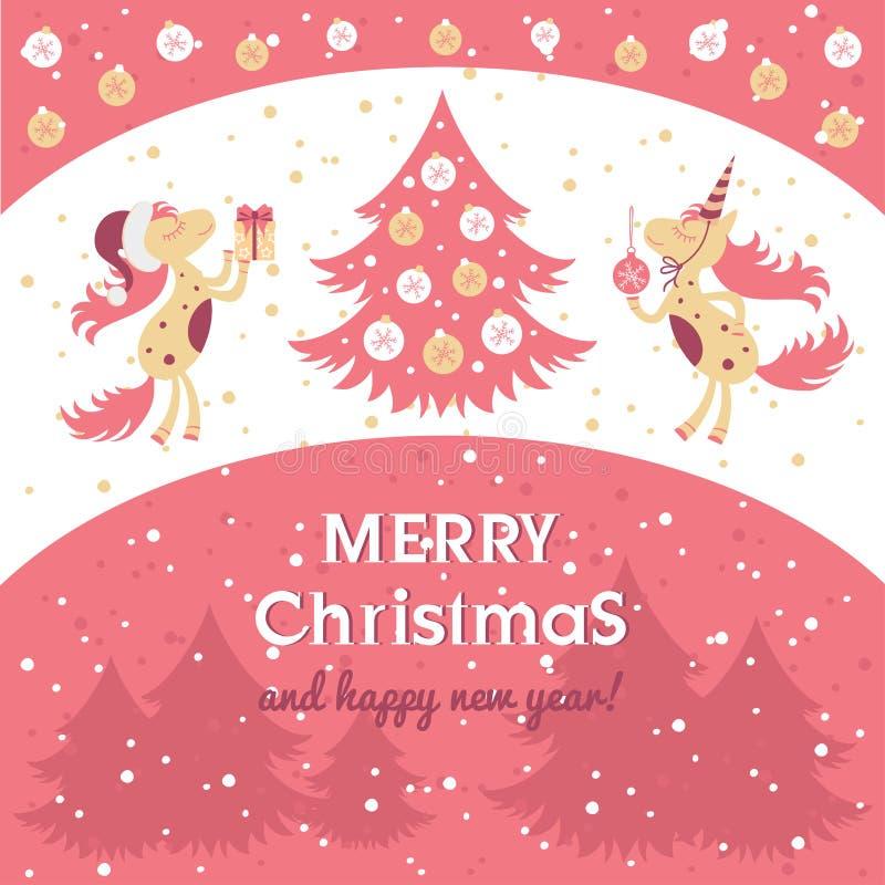 Carta del cavallo per il nuovo anno ed il Natale royalty illustrazione gratis