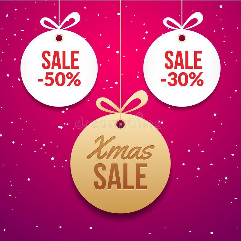Carta del cerchio di vettore di offerta di prezzi speciali dell'etichetta della palla di Natale Insegna del nuovo anno per la ven illustrazione di stock