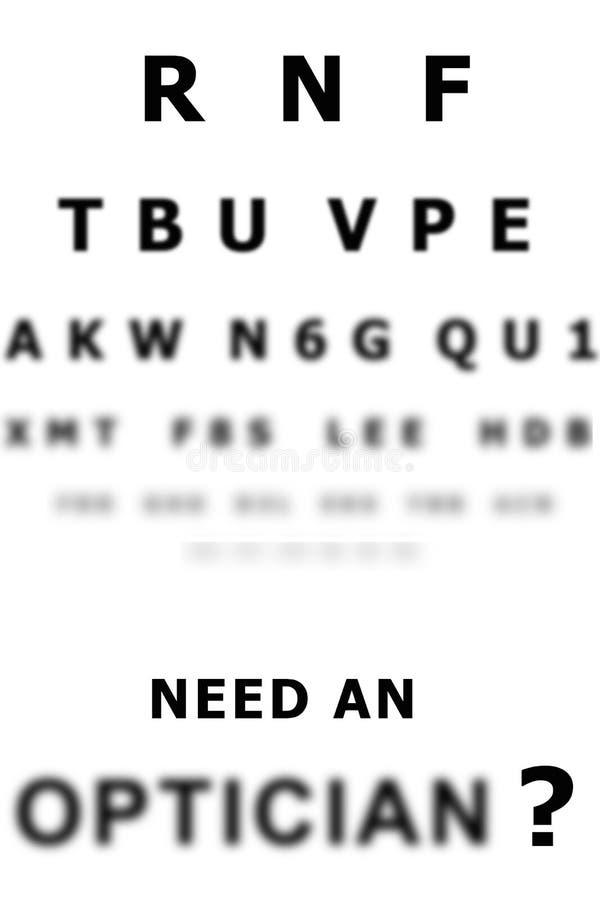 Carta del examen de ojo stock de ilustración