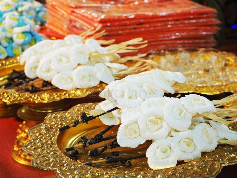 Carta del fiore da disporre sul sito della cremazione, funerale tailandese immagine stock