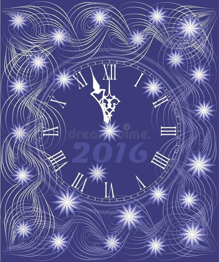 Carta del fondo del nuovo anno con l'orologio illustrazione di stock