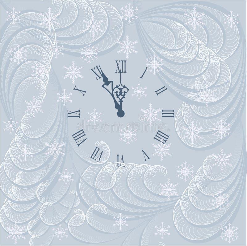 Carta del fondo del nuovo anno con l'orologio illustrazione vettoriale