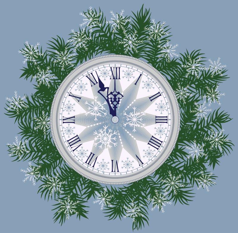 Carta del fondo del nuovo anno con l'orologio royalty illustrazione gratis