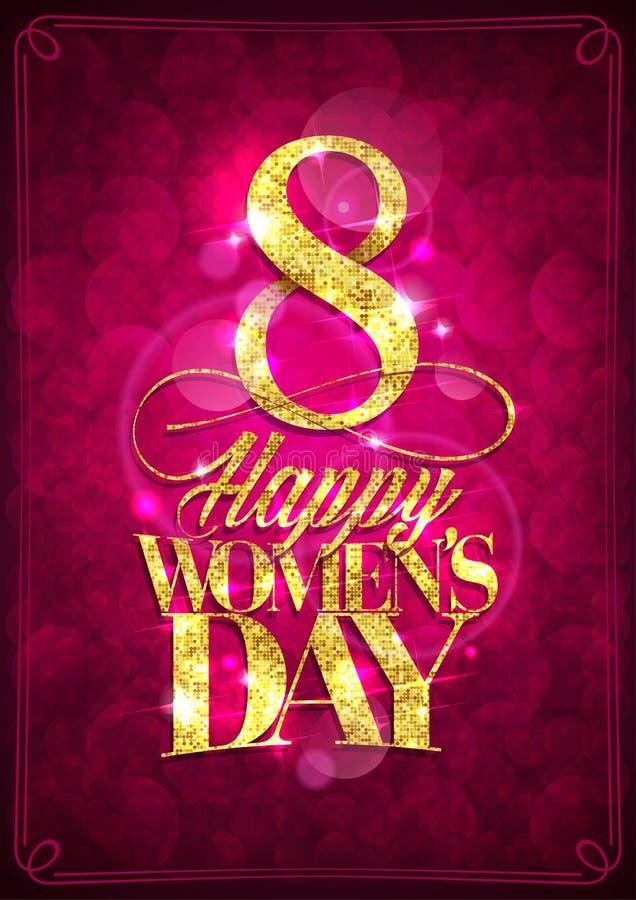 Carta del giorno delle donne felici, l'8 marzo cartolina d'auguri illustrazione di stock