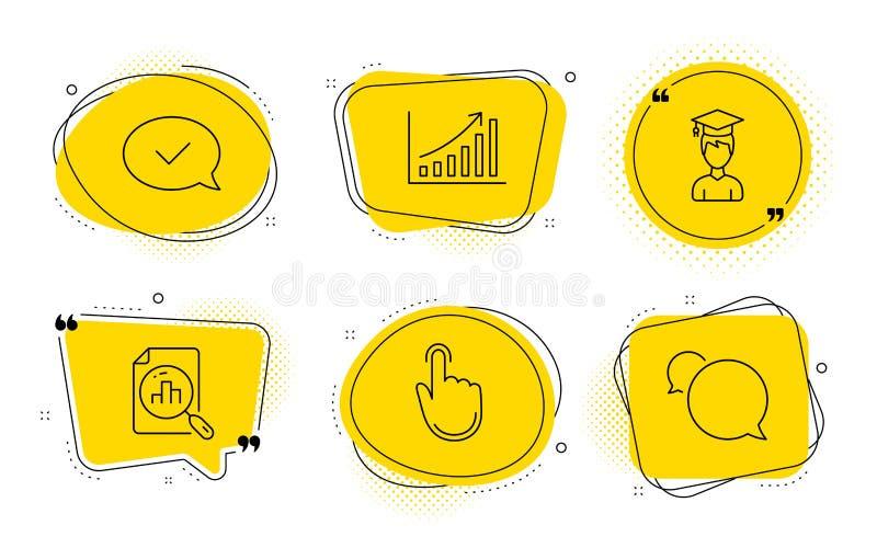 Carta del gráfico, gráfico del Analytics y sistema de los iconos del estudiante Tecleo de la mano, mensaje aprobado y muestras de libre illustration