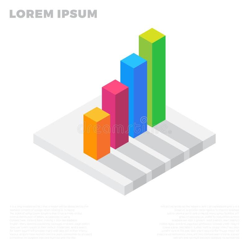 Carta del gráfico del crecimiento, éxito de mercado, barra común encima del icono plano isométrico ejemplo colorido 3d pictograma stock de ilustración
