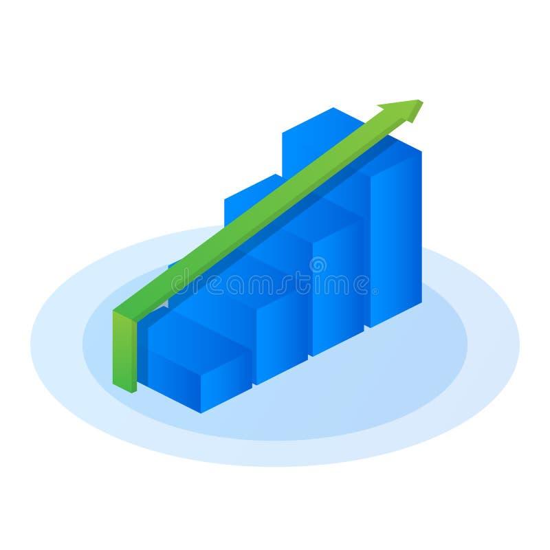 Carta del gráfico del crecimiento, éxito de mercado, barra común encima del icono plano isométrico Ilustración del vector stock de ilustración