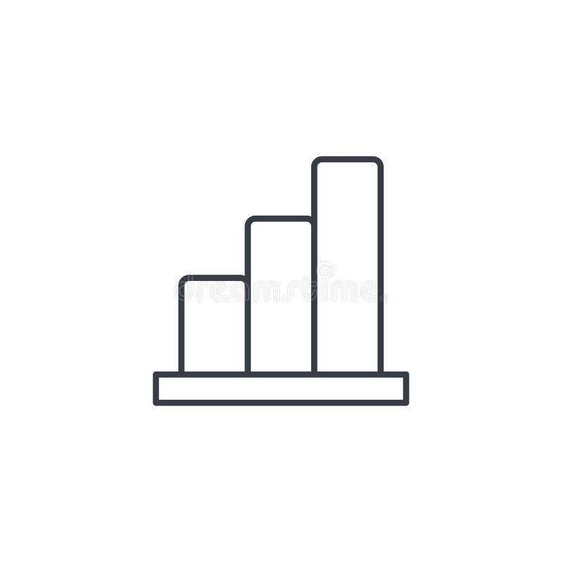 Carta del gráfico del crecimiento, éxito de mercado, barra común encima de la línea fina icono Símbolo linear del vector ilustración del vector