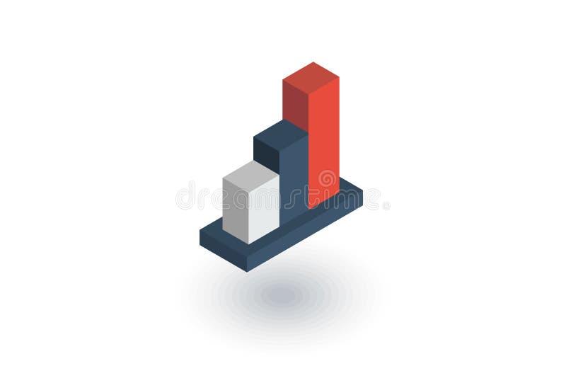 Carta del gráfico del crecimiento, éxito de mercado, barra común encima del icono plano isométrico vector 3d stock de ilustración