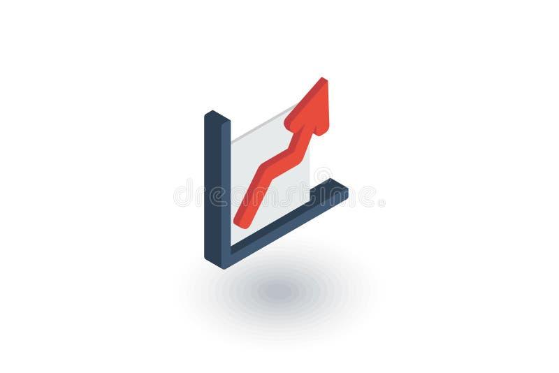 Carta del gráfico del crecimiento, éxito de mercado, flecha encima del icono plano isométrico vector 3d libre illustration