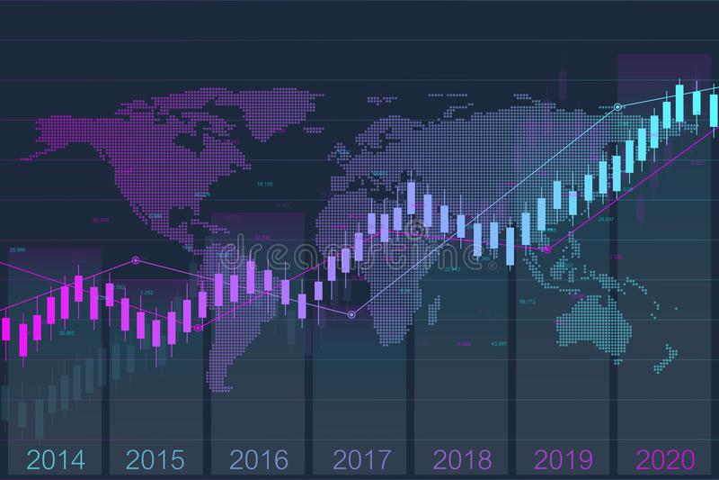 Carta del gráfico del palillo de la vela del negocio de la inversión del mercado de acción que negocia con el mapa del mundo Merc stock de ilustración