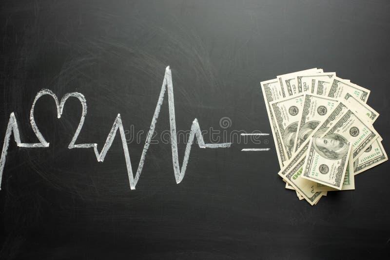 carta del latido del corazón en un igual de la pizarra al concepto del dinero de medicina costosa, seguro costoso, falta de diner fotos de archivo libres de regalías