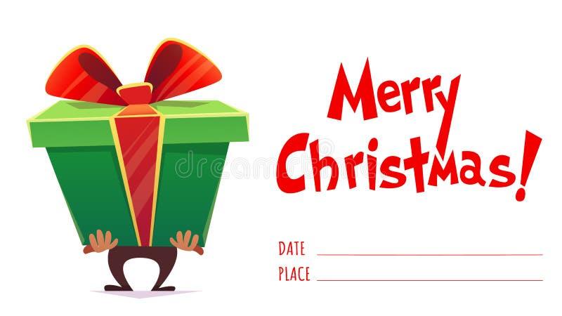 Carta del manifesto di Buon Natale con stile dell'iscrizione e del fumetto di callygraphy pila di molti regali, arco del nastro s illustrazione vettoriale