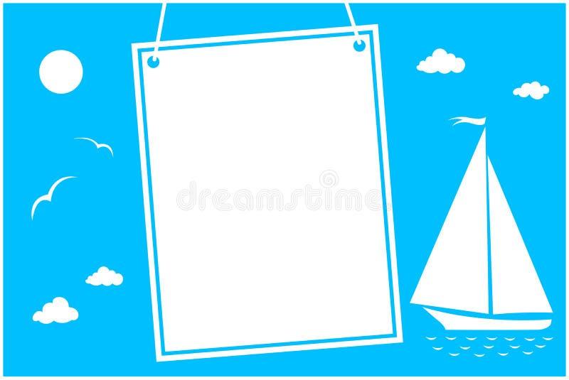Carta del mare di vacanze estive con Libro Bianco d'attaccatura illustrazione vettoriale