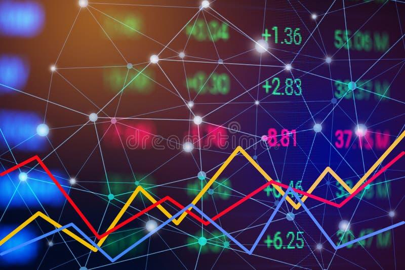 Carta del mercado de acci?n con la l?nea gr?fico Carta de la tendencia de disparatado y de ce?udo Concepto comercial financiero y foto de archivo