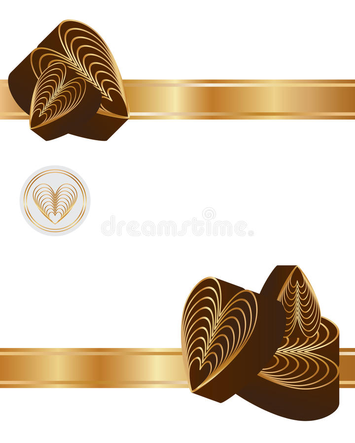 Carta del nastro del cioccolato di amore nove illustrazione di stock