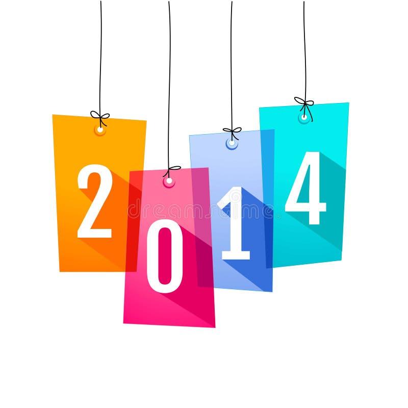 Carta 2014 del nuovo anno con le etichette di acquisto illustrazione vettoriale