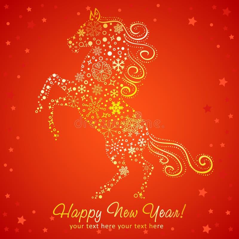 Carta del nuovo anno del cavallo fatta dei fiocchi di neve royalty illustrazione gratis