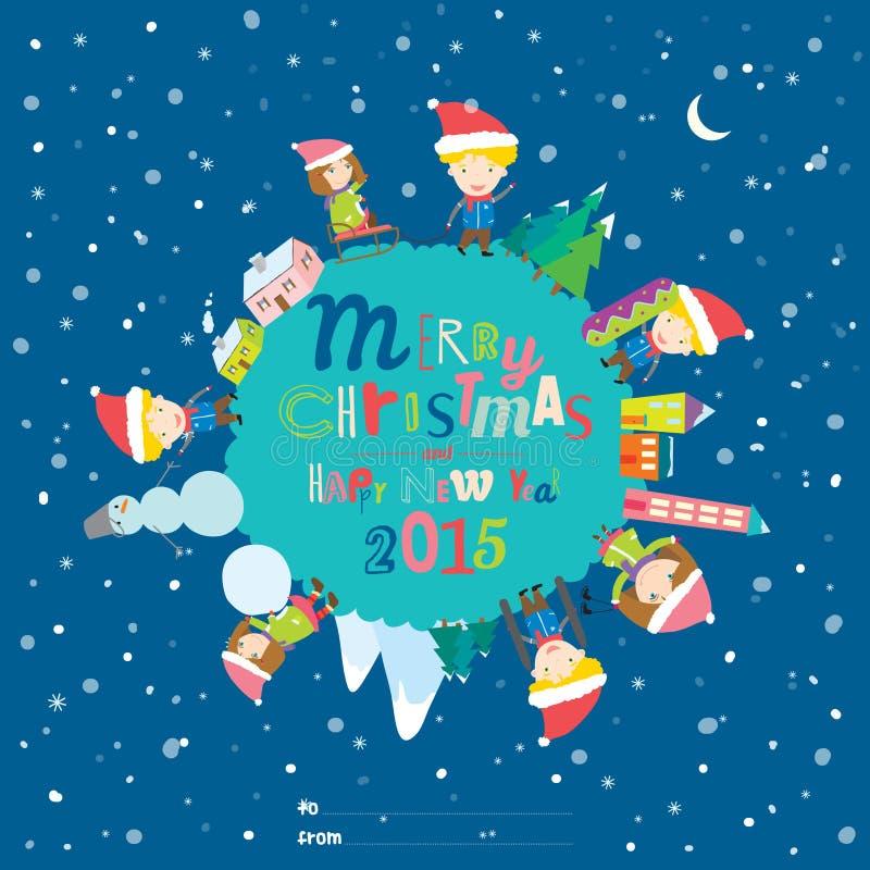 Carta del nuovo anno e di Buon Natale nel vettore illustrazione di stock