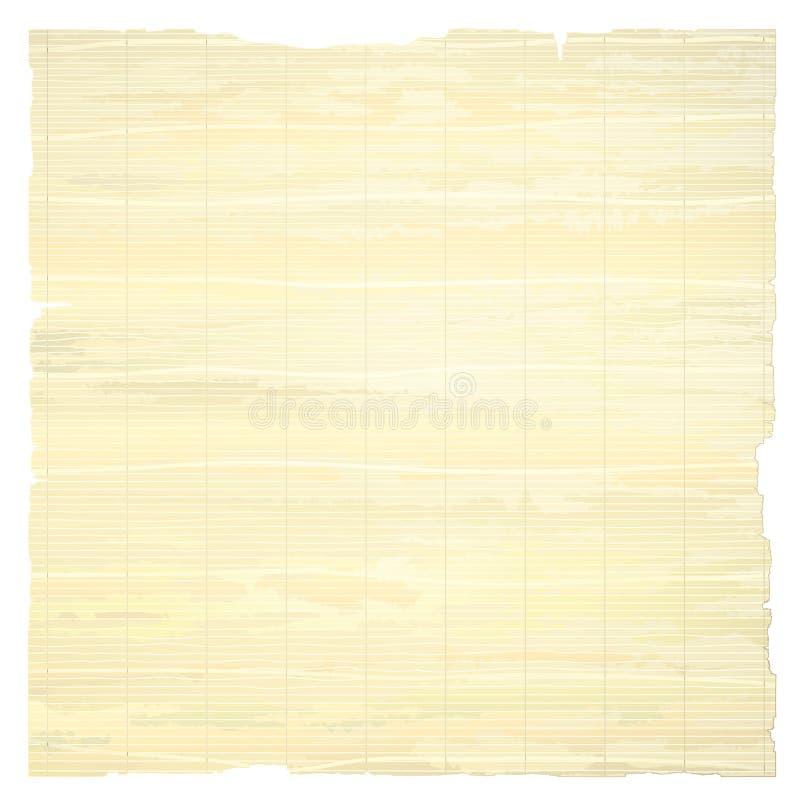 Carta del papiro isolata su fondo bianco illustrazione di stock