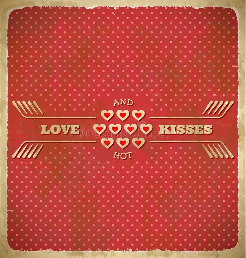 Carta del pois di San Valentino con i cuori minuscoli illustrazione di stock