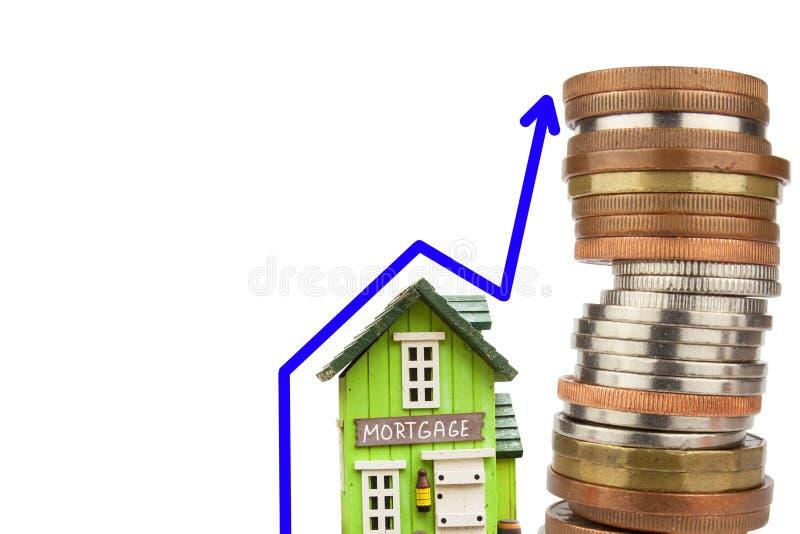 Carta del precio de la hipoteca Crecimiento del precio de las propiedades inmobiliarias Venta de casas Concepto de hipoteca fotografía de archivo