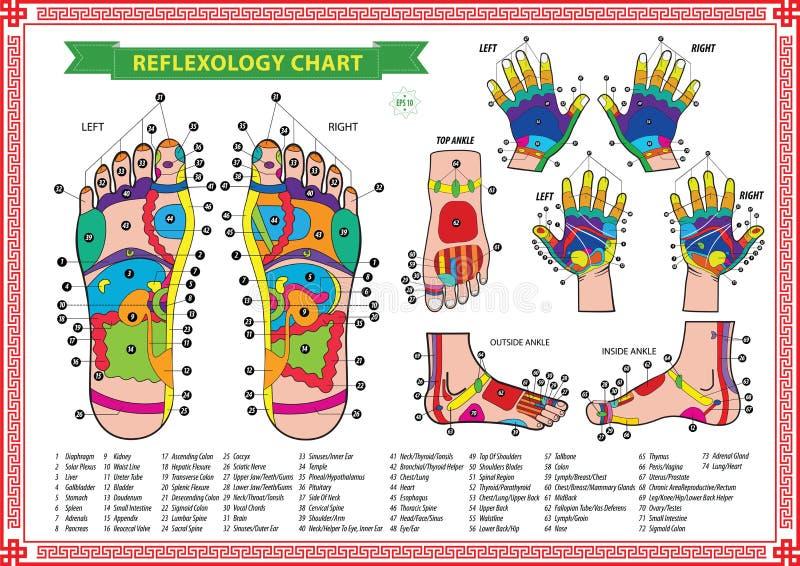 Carta del reflexology del pie y de la mano imágenes de archivo libres de regalías