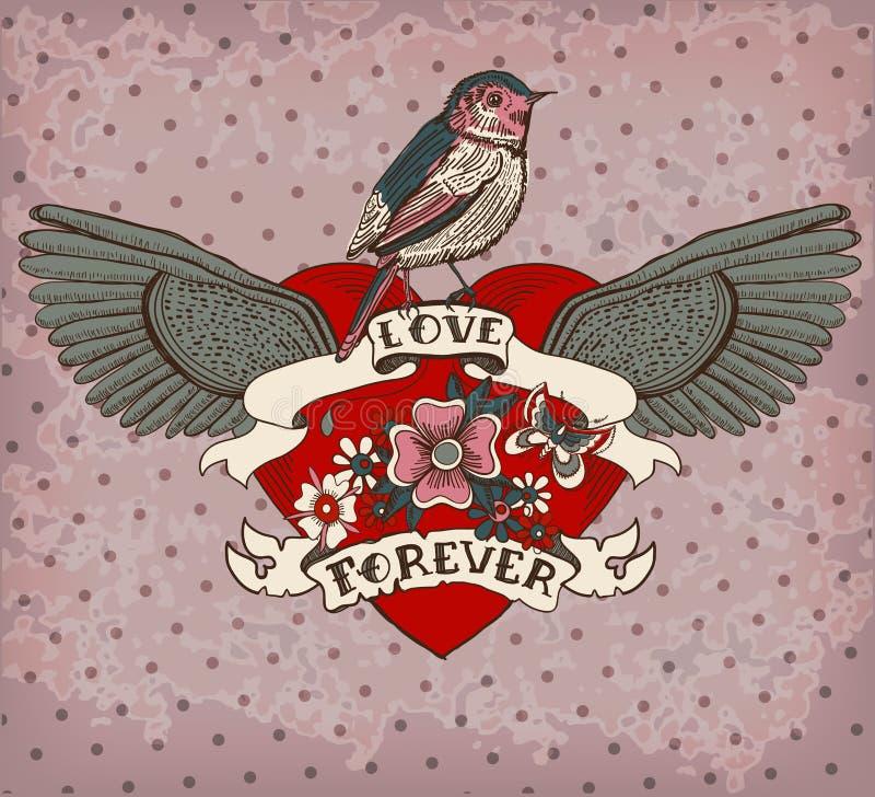 Carta del tatuaggio di stile della vecchia scuola con l'uccello, i fiori ed il nastro, Vint royalty illustrazione gratis