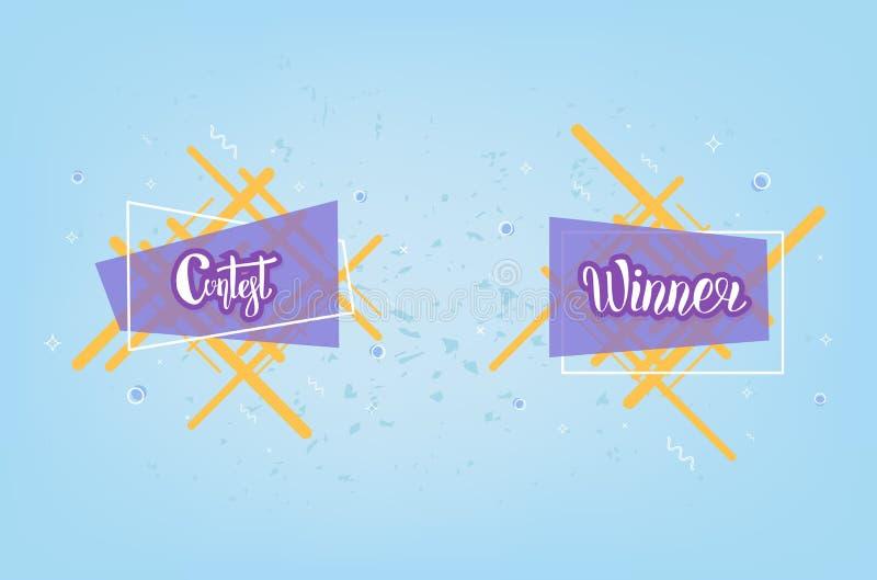 Carta del vincitore e di concorso con fondo decorativo Illustrazione di vettore royalty illustrazione gratis