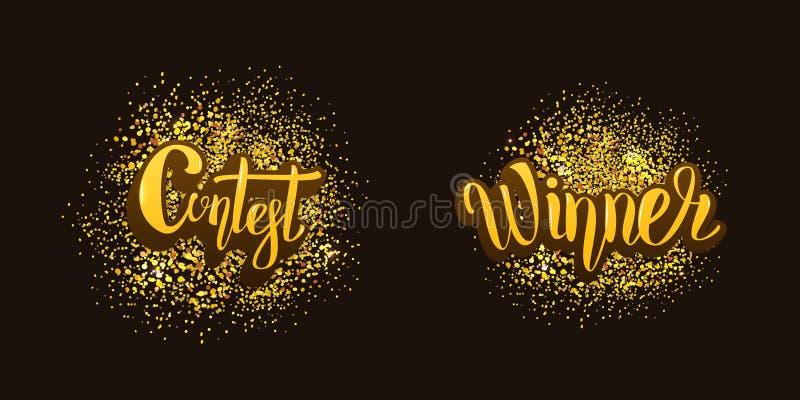Carta del vincitore e di concorso con fondo decorativo Illustrazione di vettore illustrazione di stock