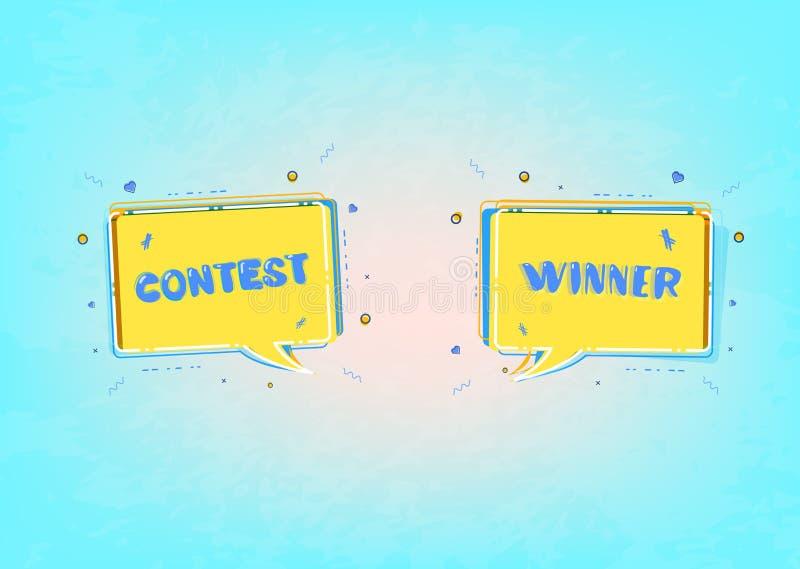 Carta del vincitore e di concorso con i fumetti Illustrazione di vettore royalty illustrazione gratis