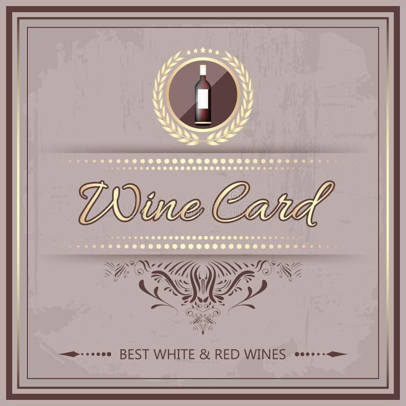 Carta del vino per il vostro menu della barra o del ristorante nello stile d'annata illustrazione di stock