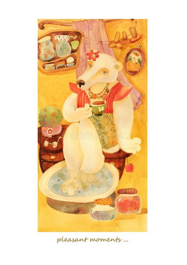 Carta dell'acquerello con la ragazza dell'orso immagini stock libere da diritti