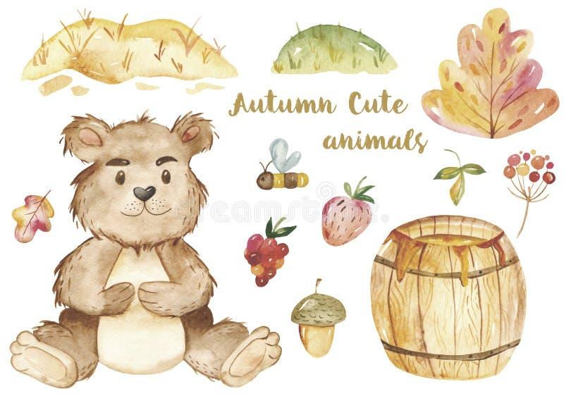 Carta dell'acquerello con una bottiglia del miele e un barile di miele per i bambini illustrazione vettoriale
