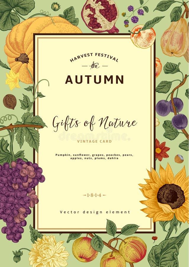 Carta dell'annata di vettore del raccolto di autunno royalty illustrazione gratis
