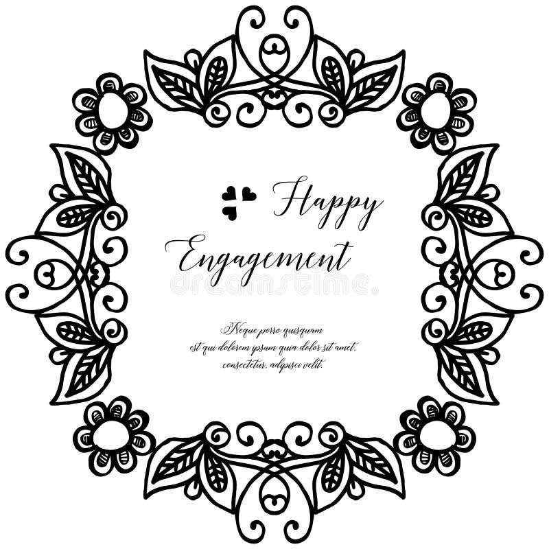 Carta dell'impegno felice, struttura d'annata del fiore della decorazione Vettore royalty illustrazione gratis