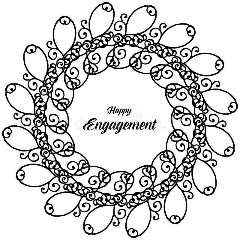 Carta dell'impegno felice, struttura d'annata del fiore della decorazione Vettore illustrazione vettoriale