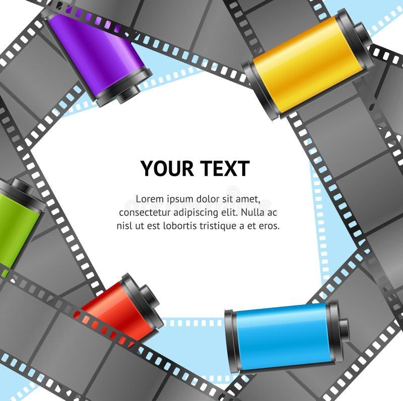 Carta dell'insegna della foto della cartuccia del rotolo di film della macchina fotografica retro Vettore illustrazione vettoriale