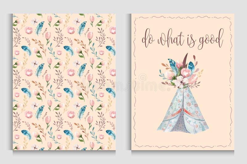 Carta dell'invito dell'acquerello con il tepee Invito stampabile floreale della doccia del emplate della Boemia di PosterT Fiore  illustrazione vettoriale