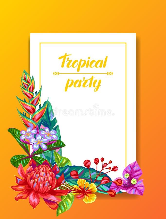 Carta dell'invito con i fiori della Tailandia Piante, foglie e germogli multicolori tropicali illustrazione vettoriale