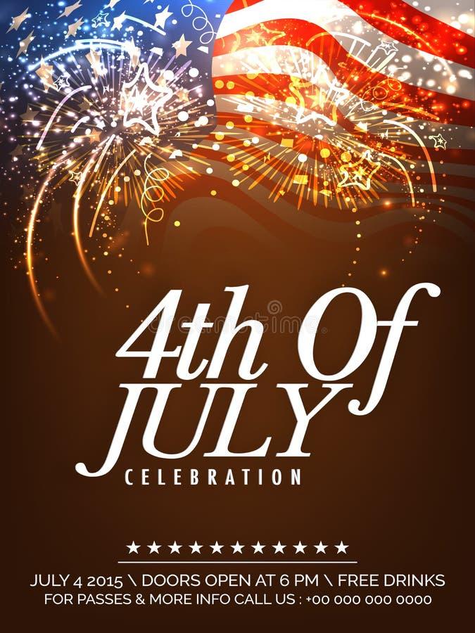 Carta dell'invito con i fuochi d'artificio per la festa dell'indipendenza americana illustrazione vettoriale