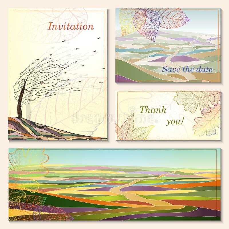 Carta dell'invito con i paesaggi di autunno. illustrazione di stock