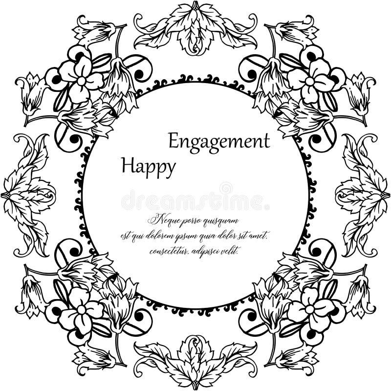 Carta dell'invito con l'iscrizione dell'impegno con lettere felice, struttura floreale d'annata Vettore illustrazione di stock