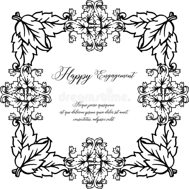 Carta dell'invito con l'iscrizione dell'impegno con lettere felice, struttura floreale d'annata Vettore royalty illustrazione gratis